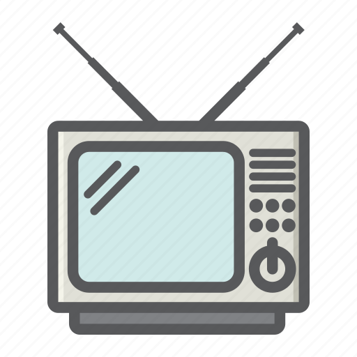 appliance, household, old, screen, television, tv, vintage icon