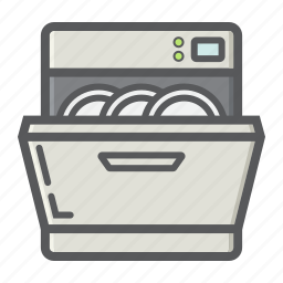 appliance, clean, dishwasher, domestic, household, kitchen, machine icon