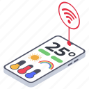 mobile app, temperature measurement, weather app, weather report, weather temperature icon