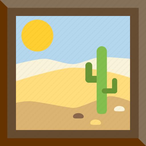 cactus, desert, frame, picture icon