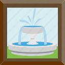 decor, fountain, frame, water icon