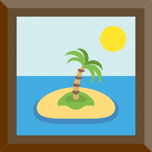 isle, isolated, lonely, palm icon