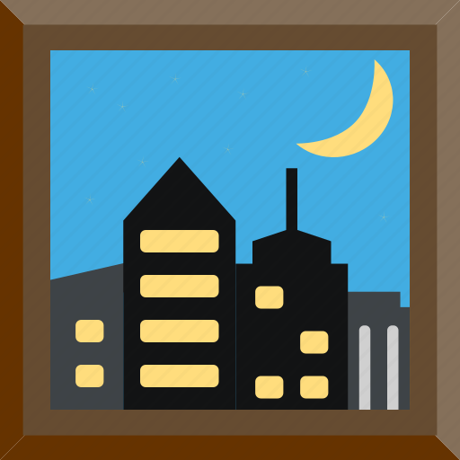 City, frame, night, picture icon - Download on Iconfinder