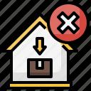 cancel, delivery, error, home, parcel icon