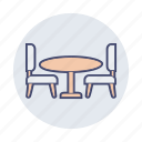 chair, desk, dining, furniture, office, table icon