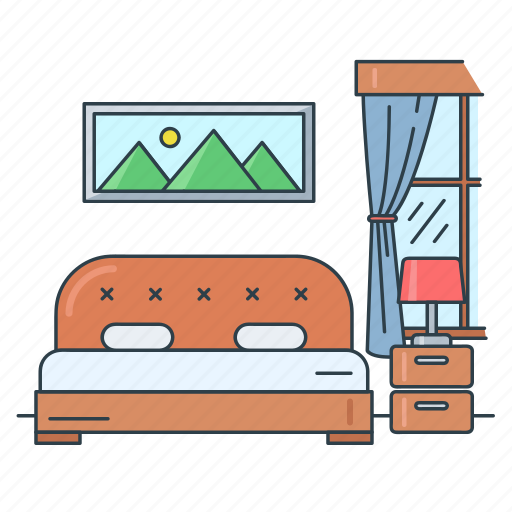 bed, bedroom, furniture, home, house, interior, real estate icon