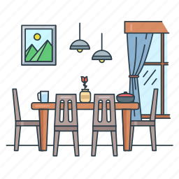 dining, dinner, furniture, home, interior, real estate, room icon