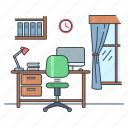 chair, furniture, home, interior, room, study, table icon