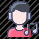 headphone, headset, man, music, people