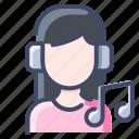 headphone, headset, music, people, woman