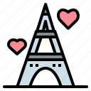 eiffel, heart, france, tower, paris