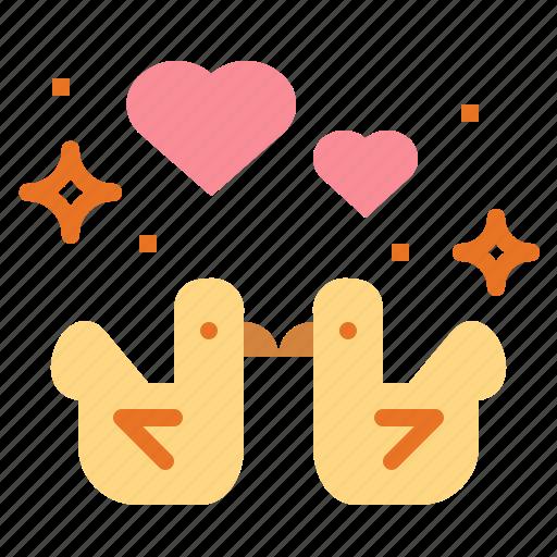 birds, heart, love, romance, valentines icon