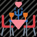 dinner, restaurant, valentine, wine icon