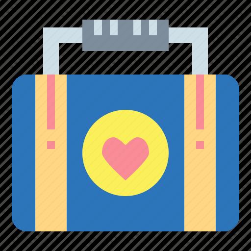 honeymoon, love, suitcase, trip icon