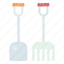 farm, rake, shovel, tools