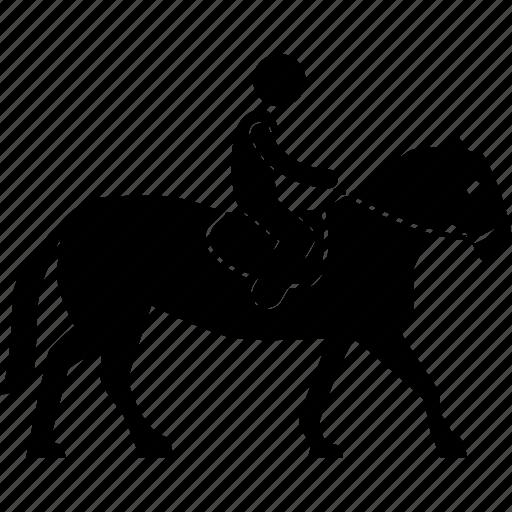 horse, jockey, man, racehorse, rider, riding, walking icon