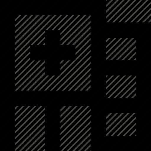 healthcare, medical, medical center, polyclinic icon