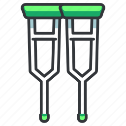 crutch, crutches, disabled, equipment, hospital icon