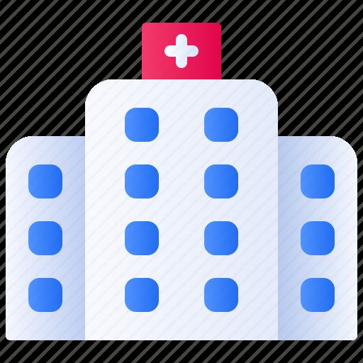 building, clinic, health, healthcare, hospital, medical, medicine icon