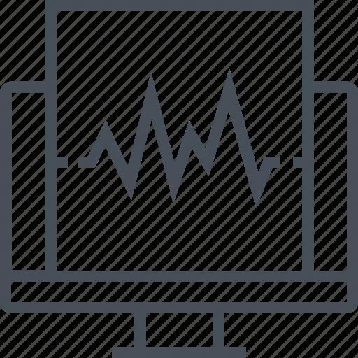 computer, diagnostic, pulse, report, wave icon