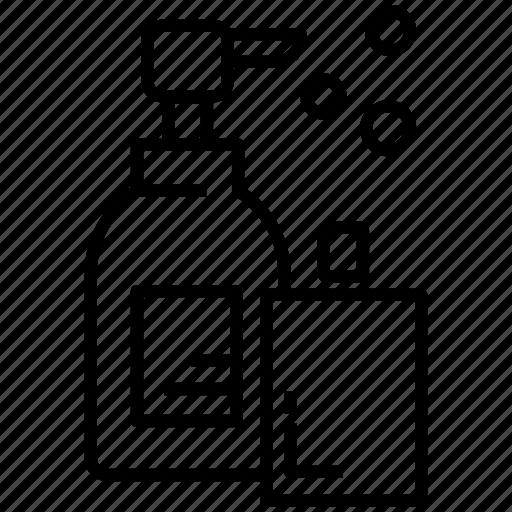 Bathroom amenities, toiletries, shampoo, lotion, clean, soap, gel icon