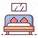bed, bedroom, furniture, home, house, living, room icon