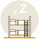 bed, dormitory, hostel, hotel, resort, room, services icon