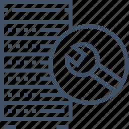 database, hosting, maintenance, network, rack, server, storage icon
