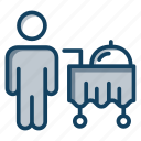 catering trolley, food service, food trolley, room service, serving trolley icon