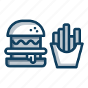 burger, fast food, food, fries, hamburger, junk food icon