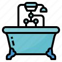 bath, bathroom, bathtub, hotel icon