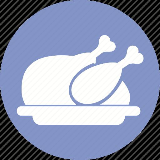 chicken, fried, hotel, meat, roast, scribble, turkey icon icon