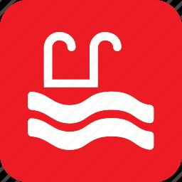 acomodation, hotel, pool, sports, swim, swimming, water icon