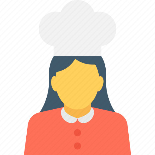 chef, cook, cook head, female chef, restaurant cook icon