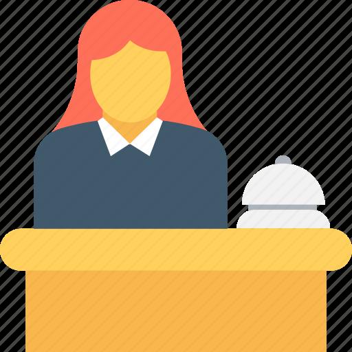 Front desk, help desk, hotel reception, reception, receptionist icon - Download on Iconfinder