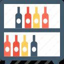 beer bottles, wine bottles, wine crate, wine rack, wine shelf