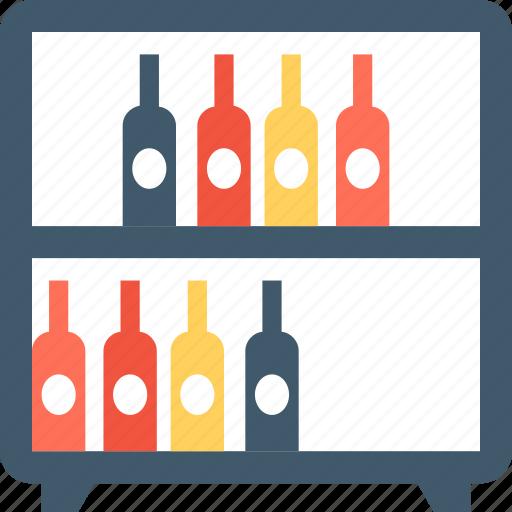 beer bottles, wine bottles, wine crate, wine rack, wine shelf icon