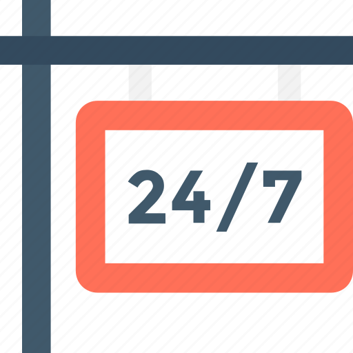 24/7, call center, customer service, helpline, twenty four hours icon - Download on Iconfinder