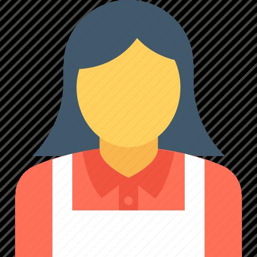 attendant, female waiter, hotel staff, waiting staff, waitress icon
