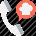 chef hat, helpline, restaurant contact, support line, talk icon
