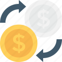 currency exchange, dollar, dollar exchange, finance, travel money icon