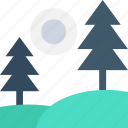 fir tree, forest, park, sun, trees icon
