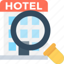 building, find hotel, hotel, magnifier, search hotel icon