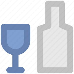 alcohol bottle, champagne bottle, drink, flute bottle, glass, wine, wine glass icon