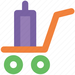 boxes, hand trolley, hand truck, luggage cart, luggage trolley, packages, parcel icon