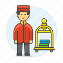 bellboy, bellhop, check, hotel, in, luggage, male, receptionist, service, spa, trolley icon