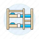 1, bed, bedroom, bunk, bunkbed, holiday, home, hotel, ladder, rental, room, spa, trip, vacation icon