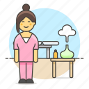 bed, diffuser, female, holiday, hotel, massage, massagist, relaxation, scent, spa, table icon