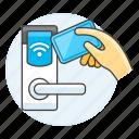 hotel, access, holiday, key, card, reader, room, sensor, keycard, hand, handle, vacation, door, spa