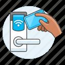 access, hand, room, door, card, handle, hotel, vacation, sensor, reader, keycard, key, spa, holiday
